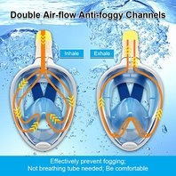 Full Face Mask for Swim and Snorkeling - Easy Breathe Anti Fog Adult (L/XL) Blue