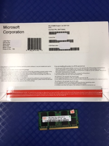 Windows 8 Professional W8P 64 Bit OEI OEM w DVD Sealed + 1GB SODIMM -2-3day Ship