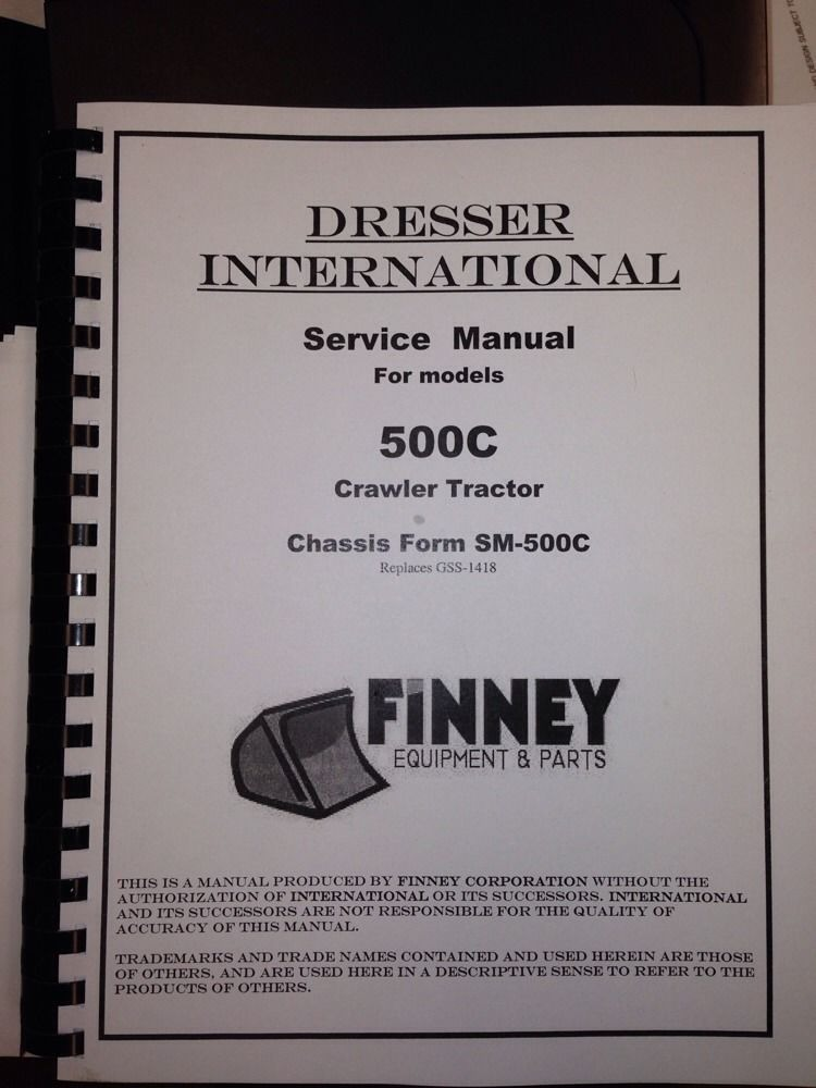 Sd International Ih C Crawler Tractor Service Manual Chassis Form Sm C Dozer