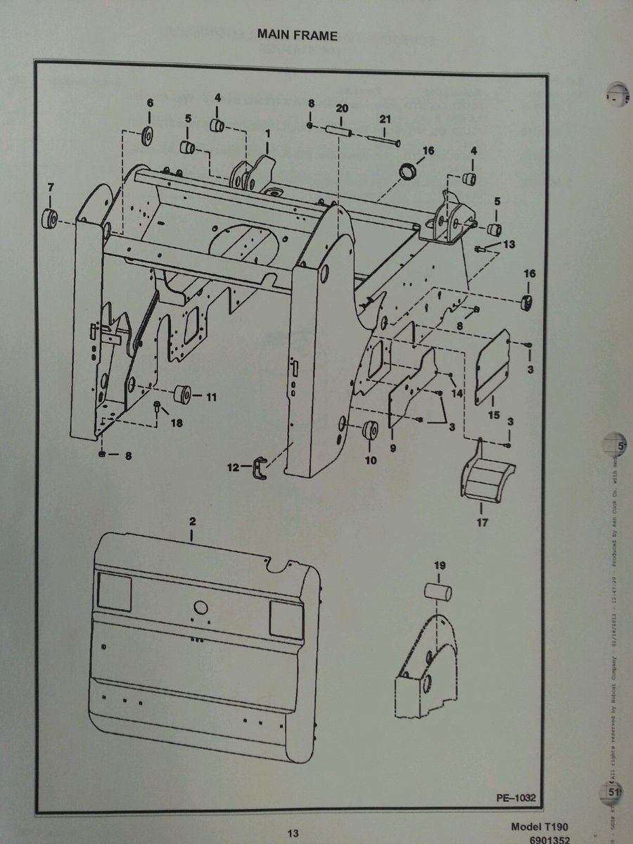 Sd Bobcat T Turbo Skid Steer Parts Manual Book on New Holland Skid Steer Parts Diagram