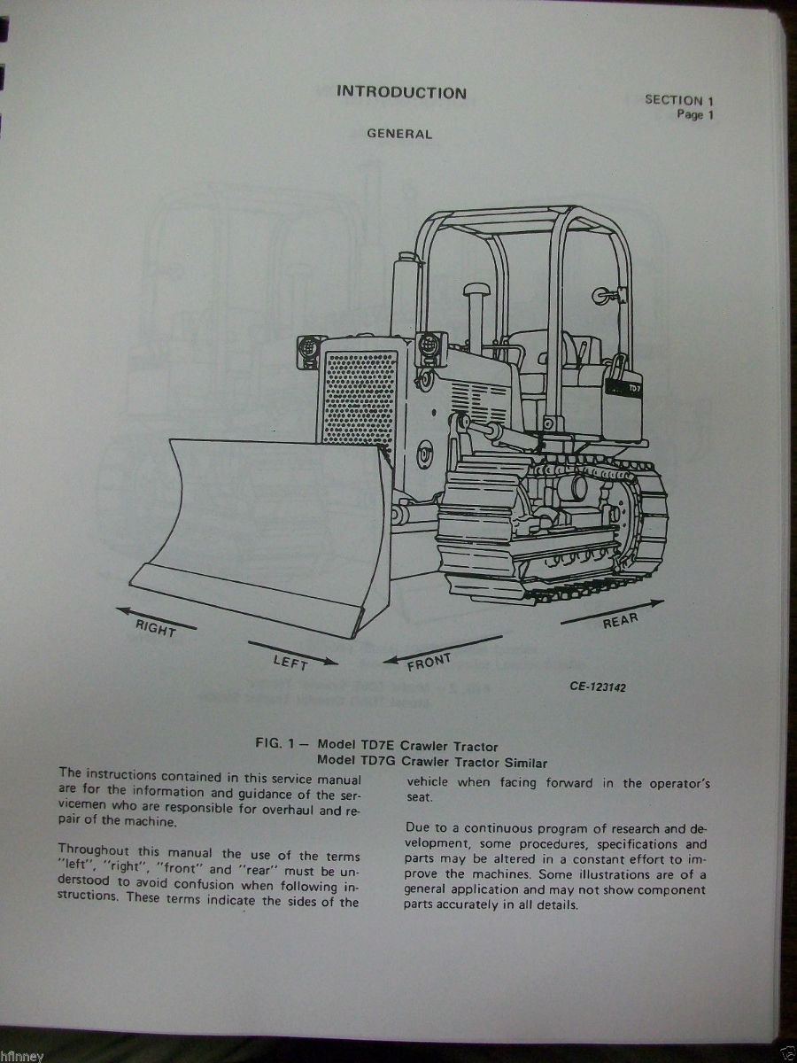 International IH Dresser Crawler dozer loader TD7G TD8G 100G 125G Service Manual | Finney ...