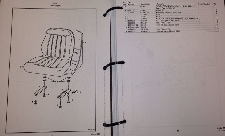 bobcat 773 parts manual book skid steer loader 6724065 new ... 2005 bobcat t190 parts diagram