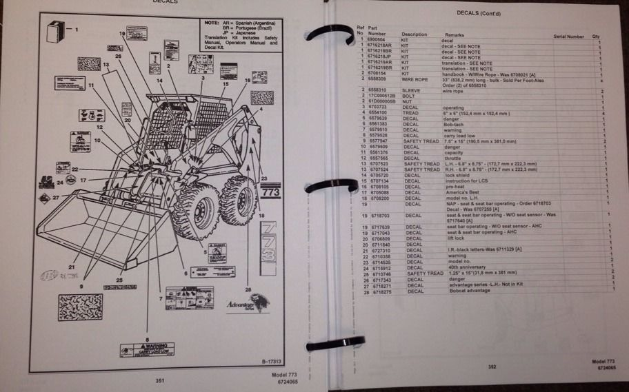 bobcat 334 parts diagram bobcat 773 parts manual book skid steer loader 6724065 new ... bobcat 773 parts diagram seat #15