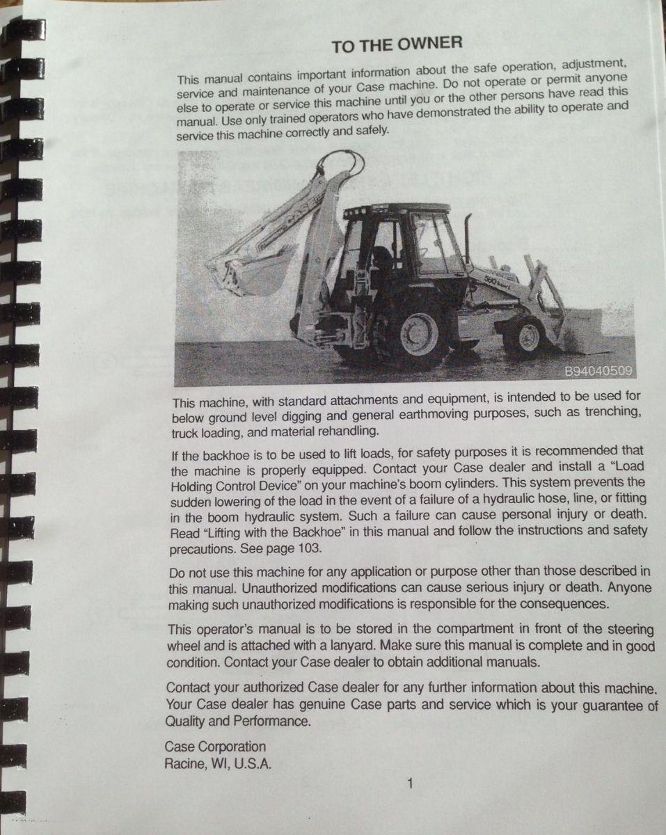 Case 580L 580 Super L 590L 580SL 590SL Loader Backhoe Operators Manual NEW   Finney Equipment ...