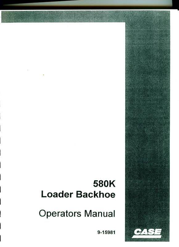 Sd Case K Loader Backhoe Operation Maintenance Manual