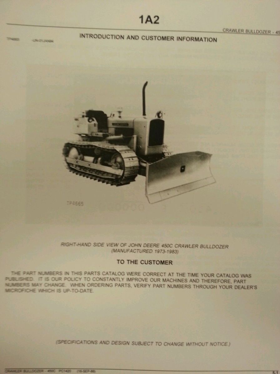 John Deere Jd 450c Crawler Dozer Parts Manual Pc1420