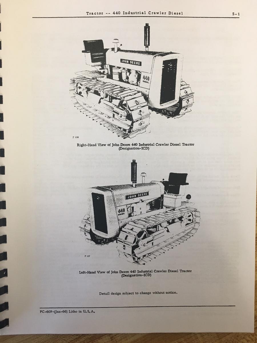 john deere jd 440 icd crawler tractor loader parts manual