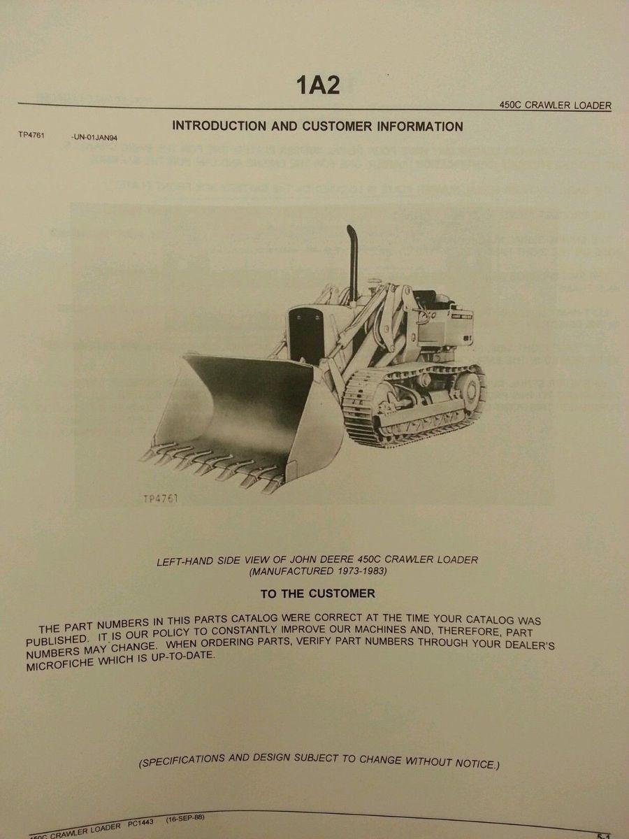 Sd John Deere Jd C Crawler Loader Parts Manual Book Catalog Pc