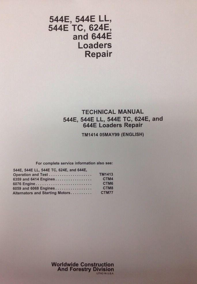 john deere jd 544e 624e 644e wheel loader service technical repair rh finneyparts us 2355 John Deere Wheel Weights John Deere 644E Tool Attachment