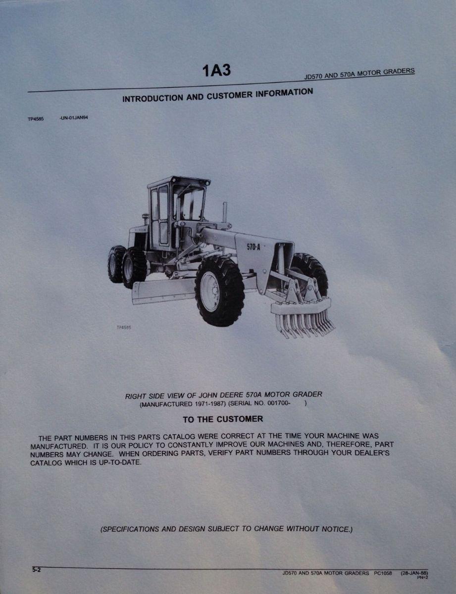 Sd John Deere Jd A Motor Grader Parts Manual Catalog Book Pc on Caterpillar Box Diagram Books Of Wiring Jpg