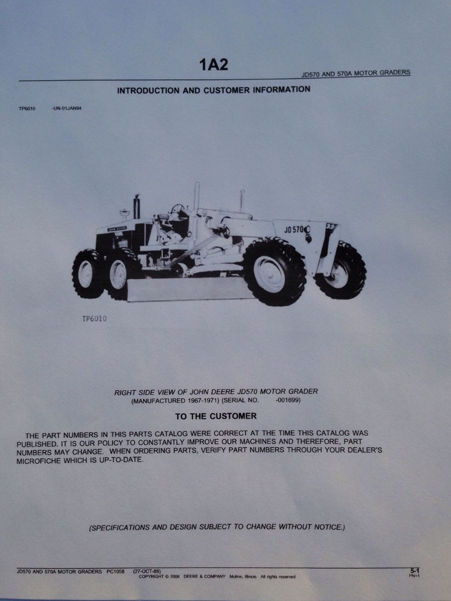 John deere jd 570 570a motor grader parts manual catalog for John deere motor grader parts