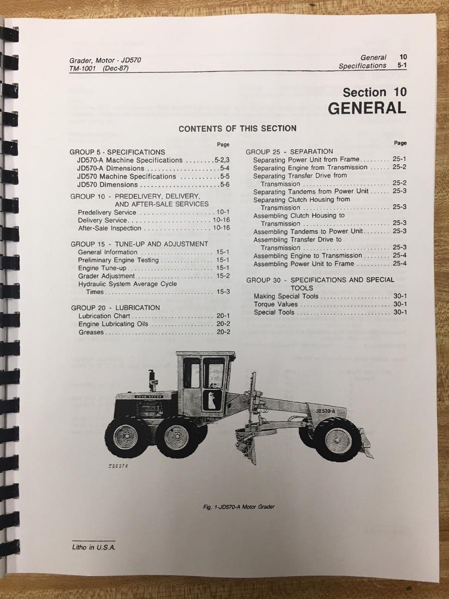 John Deere JD 570 570A Motor Grader service repair tech shop manual TM1001   Finney Equipment ...