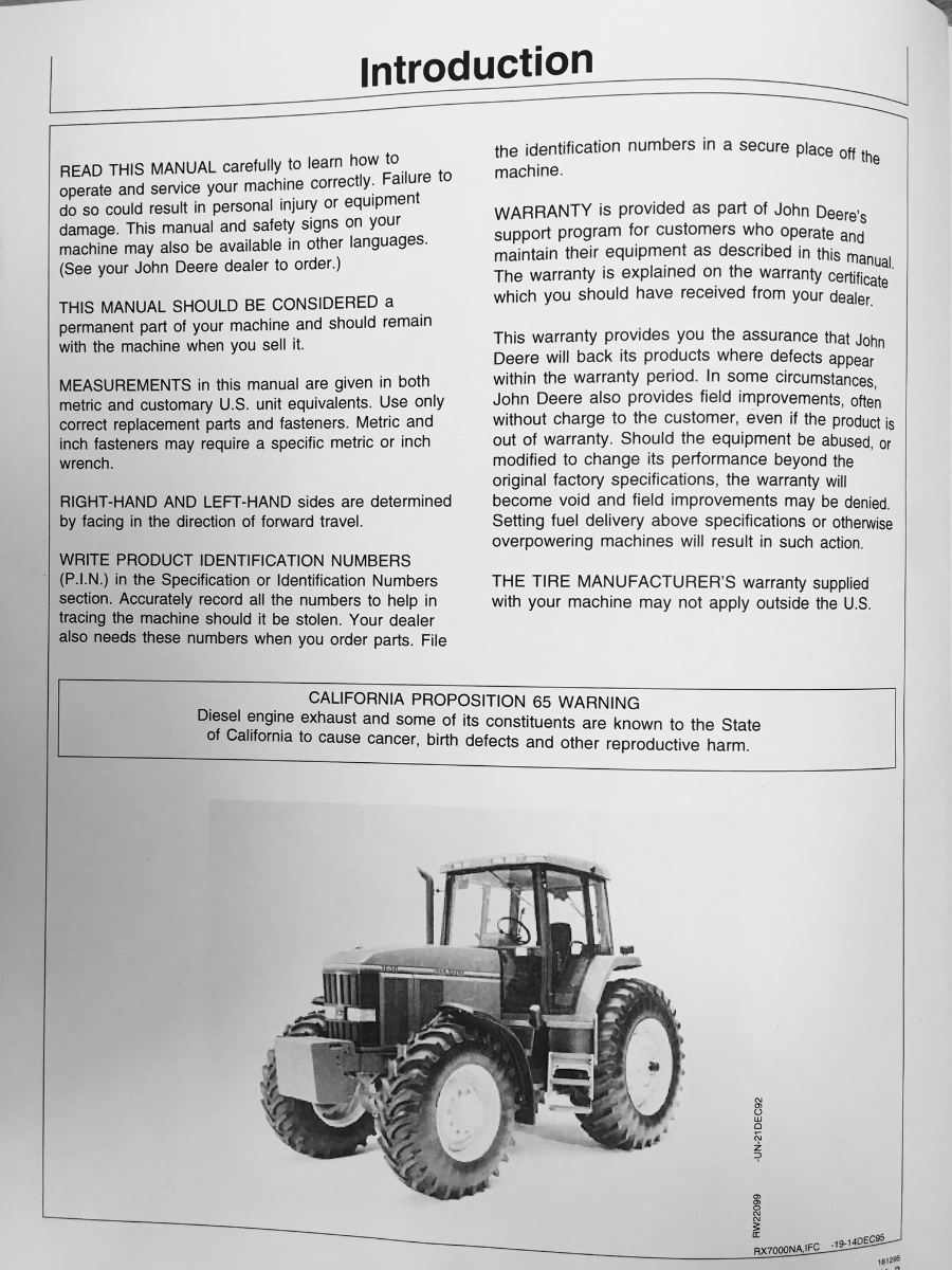 John Deere JD 7600 7700 7800 Tractor Operators Operation