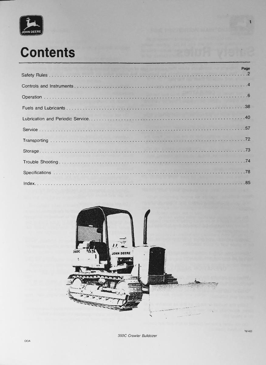 John Deere JD 350C Crawler Loader 350C Crawler Bulldozer Operator – Operation Manual