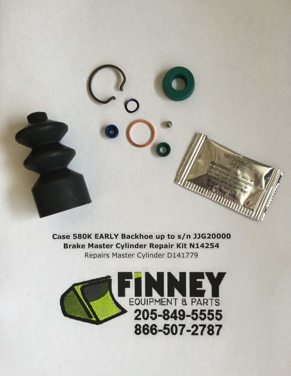 Case 580K EARLY Backhoe Brake Master Cylinder Repair Kit N14254 Repairs  D141779 | Finney Equipment and Parts
