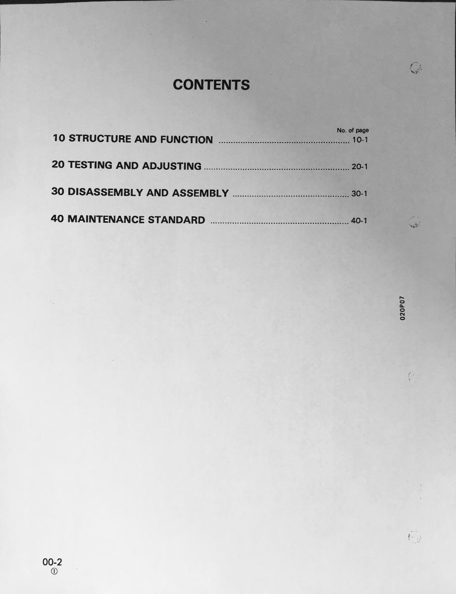 KOMATSU PC10-7 PC15-3 PC20-7 Hydraulic Excavator Service Shop Repair Manual Book