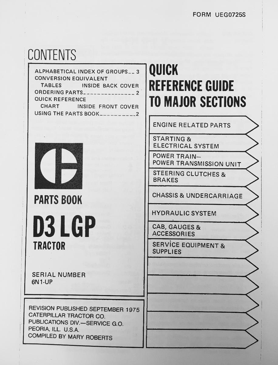 caterpillar cat d n dozer parts manual book uegs caterpillar cat d3 parts manual book s n 6n 1 885 ueg0725s