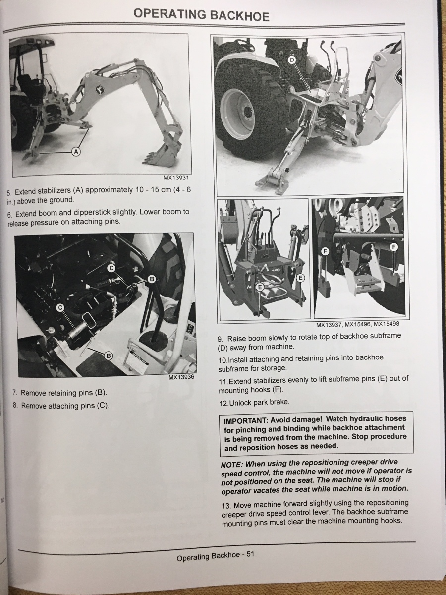 John Deere 110 Tractor Loader Backhoe Operators Manual