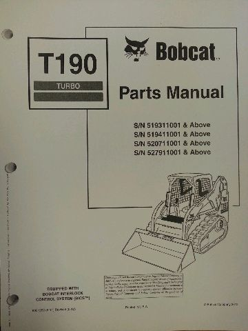 bobcat t190 turbo skid steer parts manual book 6901352 finney rh finneyparts us bobcat t190 manual download bobcat t190 manual download