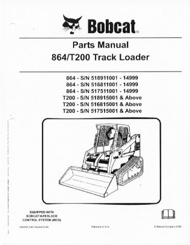 bobcat t200 rubber track loader parts manual book 864 finney rh finneyparts us 2000 Bobcat 864 Specs 864 Bobcat Parts Catalog