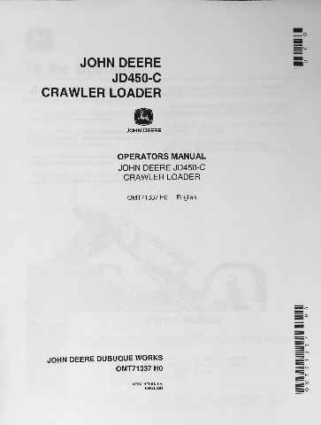 John Deere Jd C Crawler Loader Operator Operation Manual Omt