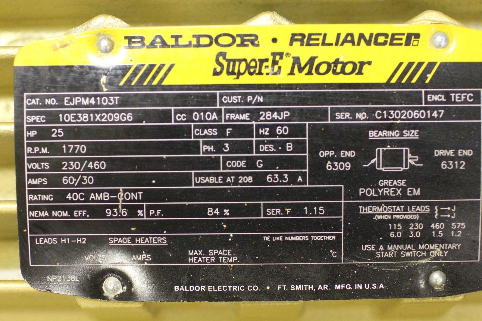 Used baldor reliance super e motor ejpm4103t 25 hp for Baldor reliance super e motor