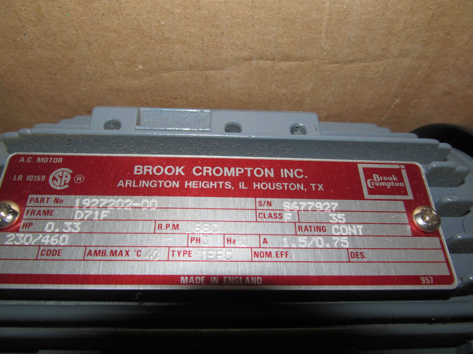 Crompton Motors 15 Hp Brook Motor 306252 For Sale Used Wiring Diagrams Download
