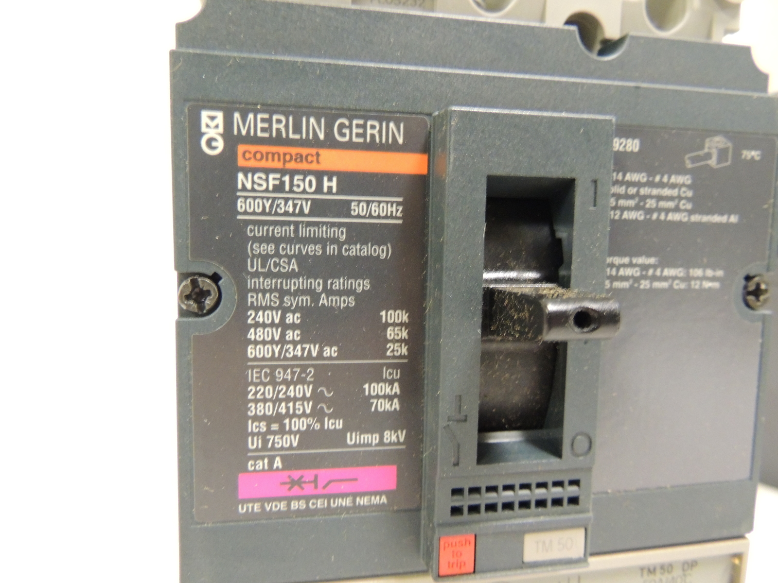 new merlin gerin circuit breaker 50 amp nfhl36050 ebay. Black Bedroom Furniture Sets. Home Design Ideas