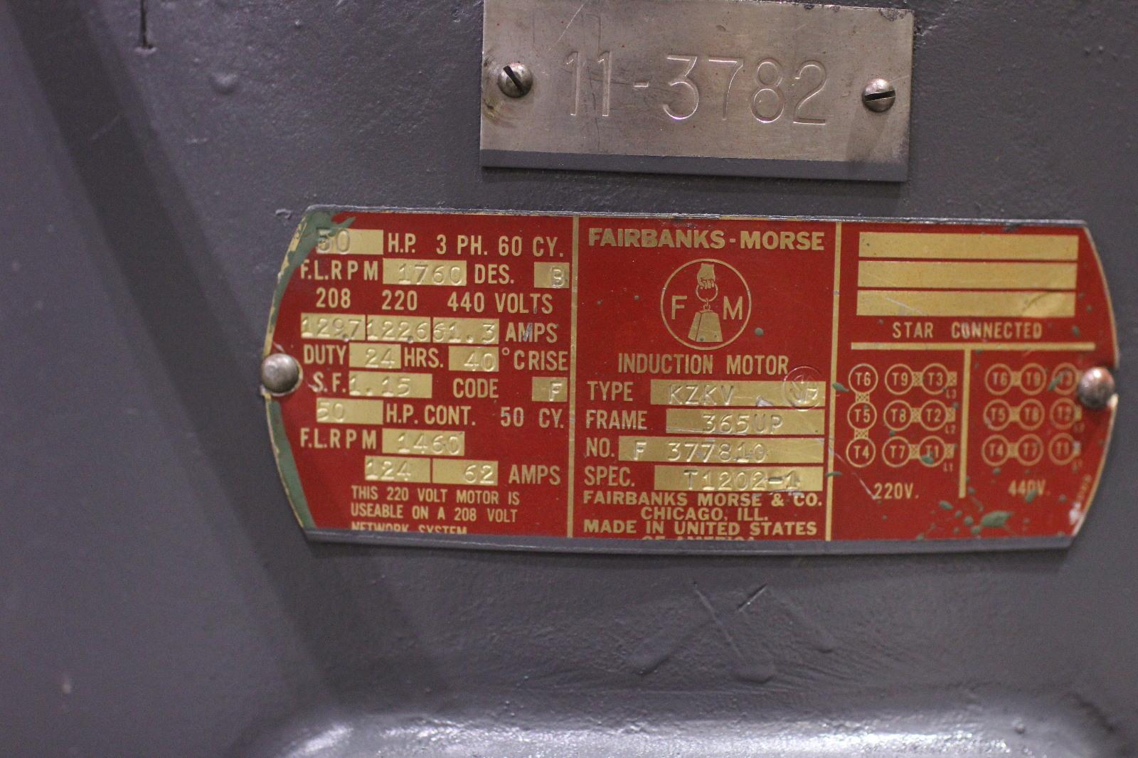 Rblt Fairbanks Morse 50 Hp Vertical Induction Motor Kzkv