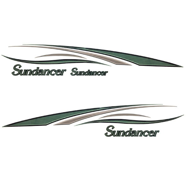 Sundancer OEM  CX Green  Tan Vinyl Pontoon Boat Decal Kit - Bayliner boat decals