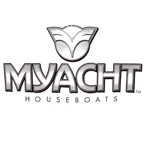 TRACKER  MYACHT HOUSEBOAT METALLIC SILVERBLACKWHITE BOAT - Houseboats vinyl logos