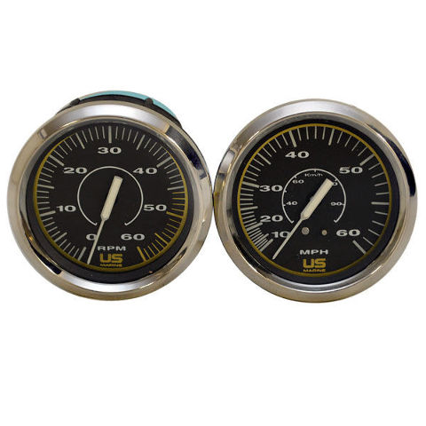 bayliner us marine faria chrome black 2 piece boat tachometer bayliner us marine faria chrome black 2 piece boat tachometer speedo gauge set