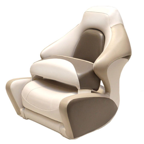 Crownline white beige taupe marine boat captains bolster seat chair single ebay - Beige slaapkamer taupe ...