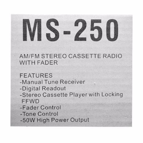 fm Radio and Cassette Player MS-250 Aquatronics Boat am