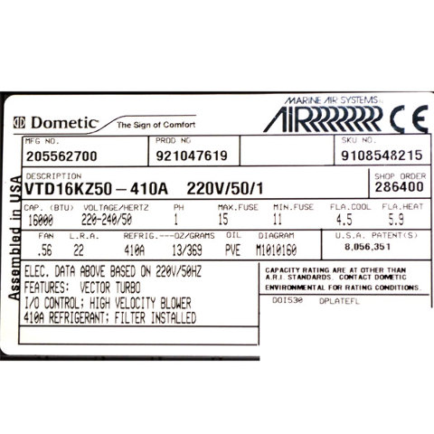 Dometic Air Conditioner Model Numbers - Air Conditioner