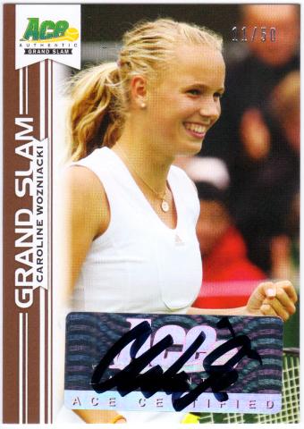CAROLINE WOZNIACKI 2013 Ace Authentic Grand Slam Brown Auto Signed Card 11/50