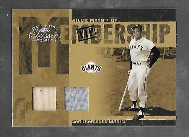 WILIIE MAYS 2005 Donruss Classics VIP Membership Game used patch bat piece /5