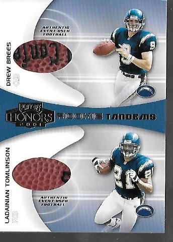 DREW BREES LADAINIAN TOMLINSON 2001 Playoff Honors Rookie Tandems Footballs #RT3