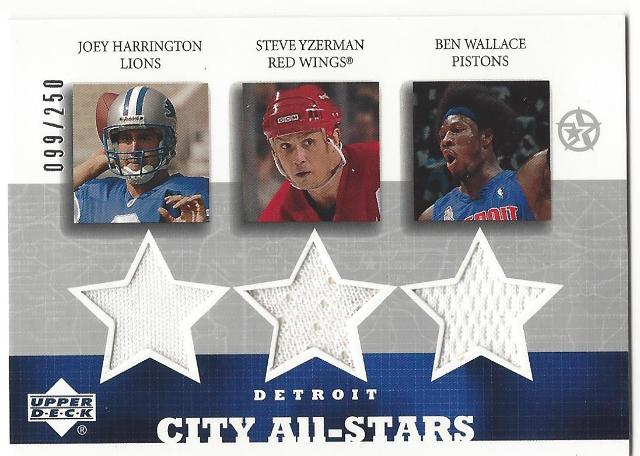 Joey Harrington Stebe Yzerman Ben Wallace Detriot City All-Stars UpperDeck /250