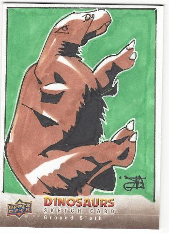 Erik Reeves Ground Sloth Hand Drawn 1/1 Dinosaurs Artist Sketch Card