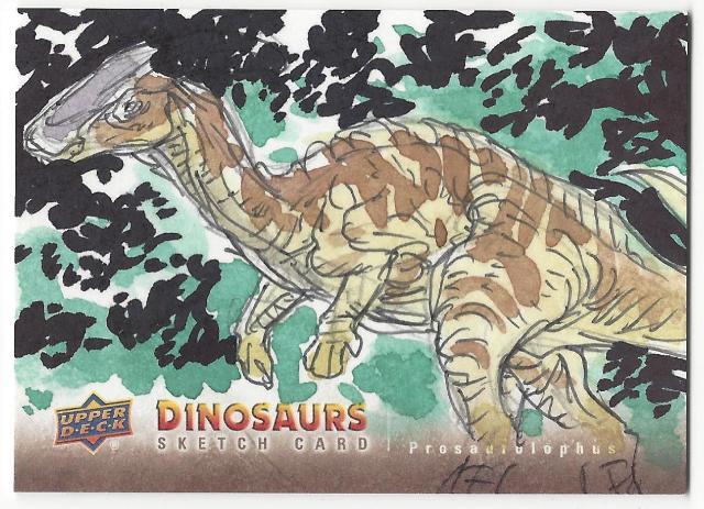 Monsanto Prosaurolophus Hand Drawn 1/1 Dinosaurs Artist Sketch Card