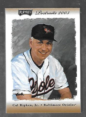 CAL RIPKEN JR 2003 Playoff Portraits Game used bat piece patch #62 Orioles