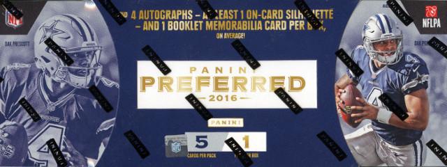 2016 Panini Preferred Football Hobby 5 Card Box/Pack (Sealed)