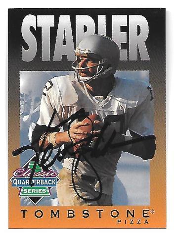 KEN STABLER 1995 Tombstone Pizza Classic QB Series auto /985 Oakland Raiders