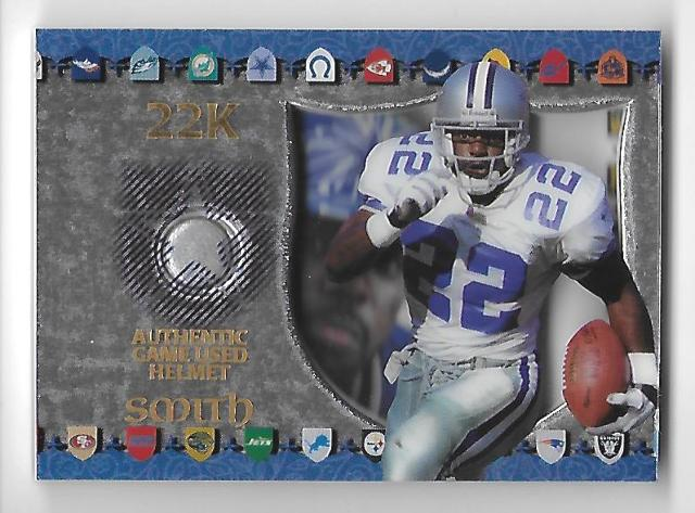 EMMITT SMITH 1997 Collector's Edge 22K Game Used Helmet piece  #5 Dallas Cowboys