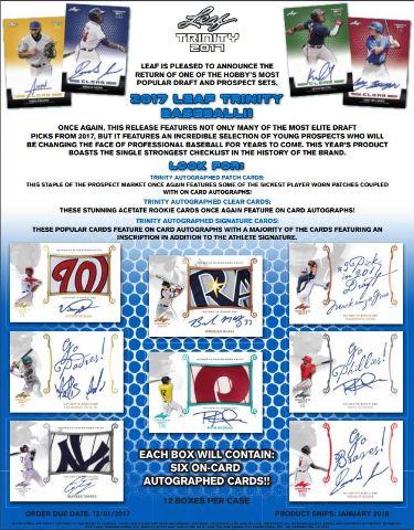 2017 Leaf Trinity Baseball Hobby Box (Sealed) Ohtani,Acuna,Robles,Lewis,Gore