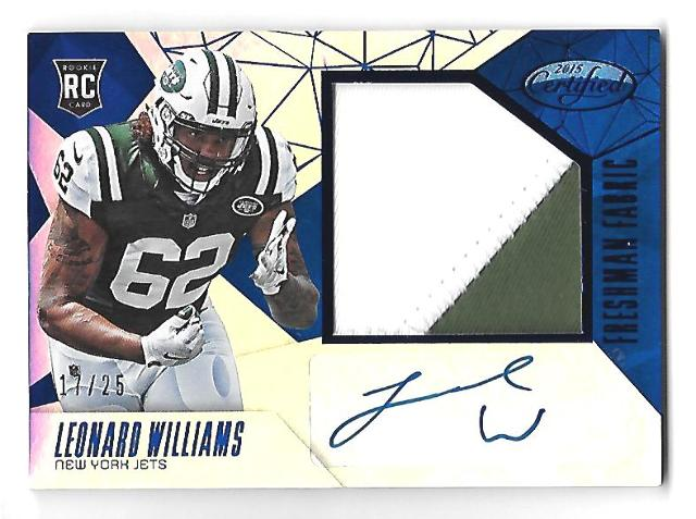 LEONARD WILLIAMS 2015 Panini Certified Mirror Blue RC patch auto /135 3 color Virginia Tech
