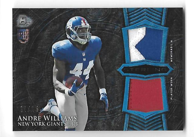 ANDRE WILLIAMS 2014 Bowman Sterling RC Relics Blue Wave refractor 2 patch /15
