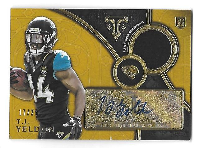 T.J. YELDON 2015 Topps Triple Threads Rookie Autograph Relics Gold auto /25 RC