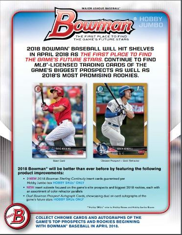 2018 Bowman Baseball (32 Card) Hobby Jumbo PACK (Factory Sealed)